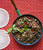South-African Kgobe-kgobe (Spicy Beef heart and lung mince)
