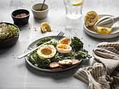 Avocado, egg and kale salad