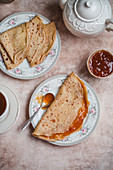 Crepes with apricot jam
