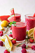 Watermelon and red berry smoothie