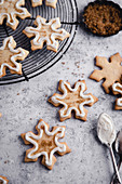 Snowflake sugar cookies with icing