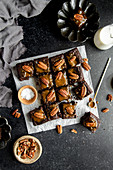 Turtle Brownies with salted caramel and pecan topping