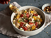 Fruity couscous salad with oranges and pink grapefruit