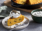 Corn cake with caramelised pumpkin seeds