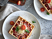Gratinated pizza waffles