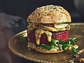 A stuffed chickpea burger
