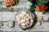 Christmas coconut cookies with coconut flakes