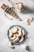 Christmas vanilla crescents with icing sugar