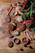Christmas shortcrust chocolate cookies with cocoa icing sugar