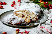 German Christmas baking stollen cake bread on plate