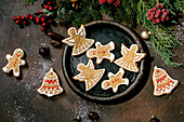 Christmas gingerbread cookies with icing ornate