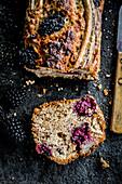 Banana bread with blackberries