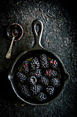 Blackberries on a black background