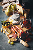 Red wine with charcuterie assortment