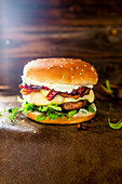 Plum and bacon burger with thyme
