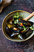 Thai Green Curry Mussels in a Bowl