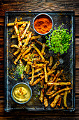 Celery fries with curry sauce and spiced salt