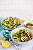 Zoodle salad with grilled asparagus and halloumi