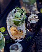 Sushi with oysters