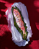 Red mullet in a seaweed coating