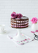 Blackberry Rose Drip Cake