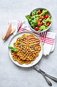 Sweet potato waffles with fresh salad