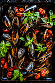 Baked Mussels with tomatoes and herbs