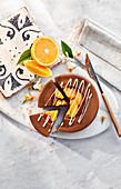 Sunken chocolate and Valencian orange cheesecake
