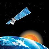 Satellite orbiting the Earth, illustration