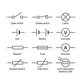 Electrical component symbols, illustration