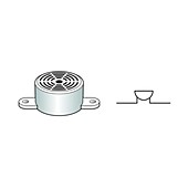 Electric buzzer and circuit symbol, illustration