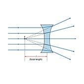 Concave lens, illustration