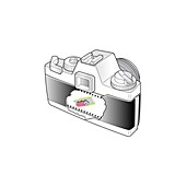 Camera with inverted image, cutaway artwork