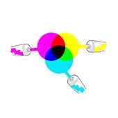 Subtractive colour mixing, illustration
