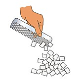 Static electricity, comb attracting paper, illustration