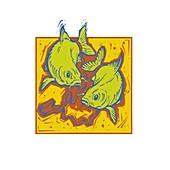 Pisces zodiac sign, illustration