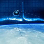 Sputnik 1 transmitting in Earth orbit, illustration