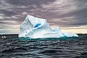 Melting iceberg with ice floes