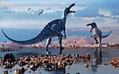 Artwork of the dinosaur suchomimus