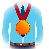 Businessman performance, conceptual illustration