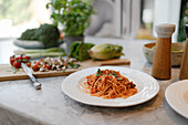 Still life fresh plate of spaghetti on kitchen counter