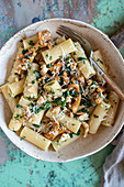 Rigatoni with chanterelles, grated parmesan and fresh parsley