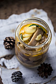 Pickled oyster mushrooms in a jar