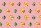 Sombrero and cactus pattern on pink background
