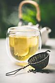 Tea composition in tea glass
