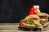 Homemade beef and ciabatta hamburgers