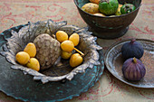 Asian fuit and vegetable - Custard apple fruits, yellow lychee and figs