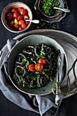Black tagliatelle pasta