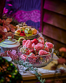 Strawberries with sugar on a festive table