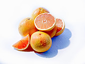 Pink grapefruit with water drops